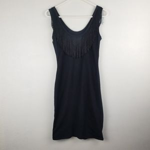 Betsey Johnson Black Fringe Sleeveless Dress
